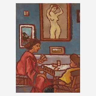József Rippl-Rónai (Hungarian, 1861–1927), , Interior with Two Women Playing Cards; with Figure Studies verso