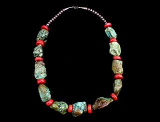 Navajo Turquoise Nugget & Branch Coral Necklace