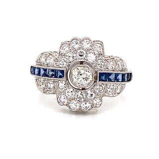 Art Deco Sapphire Diamond RingÊ