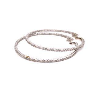 18k Hoop Diamond Earring