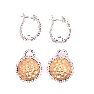14k White & Pink Diamond Earrings