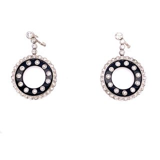 Platinum Onyx Diamond Doughnut Earring