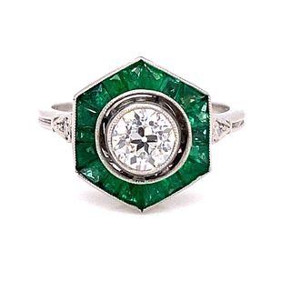 Platinum Diamond Emerald Hexagon Ring