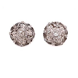 1920 Platinum Diamond Earrings
