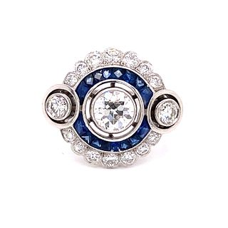 Platinum Diamond Sapphire Target Ring