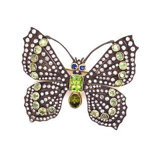 Silver & Gold Diamond Peridot Butterfly Broach