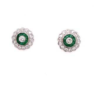 Platinum Emerald Diamond Target Earrings