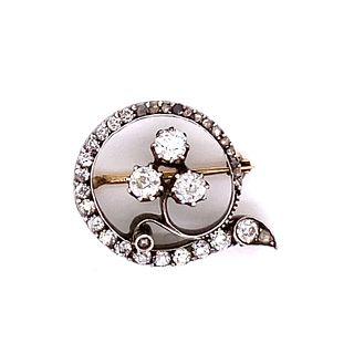 Victorian Silver & Gold Diamond Broach