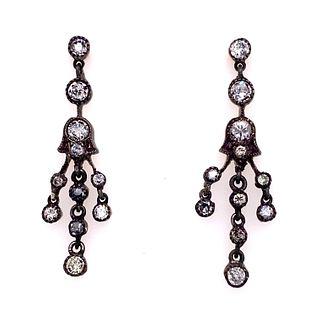 Silver and Gold Diamond Chandelier EarringsÊ