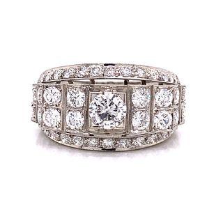 Retro Platinum & Diamond Chevalier RingÊ