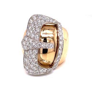 18k Diamond Belt Buckle Ring