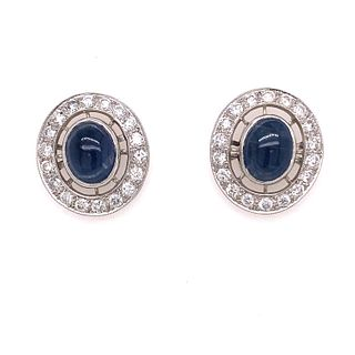 Platinum Sapphire Diamond Stud Earrings