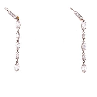 Platinum Marquise Diamond Drop Earrings