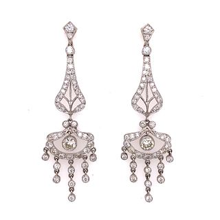 Platinum Diamond Chandelier Drop Earrings
