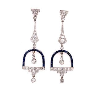 Platinum Sapphire Diamonds Drop EarringsÊ