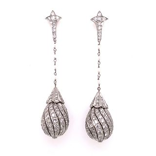 Platinum Diamond Pearl Drop Earrings