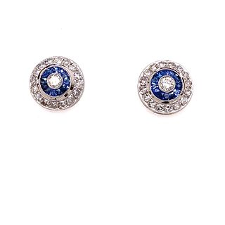 Platinum Sapphire Diamond Target Stud Earrings