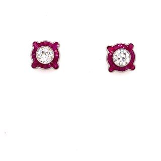 Platinum Diamond & Ruby Stud EarringsÊ