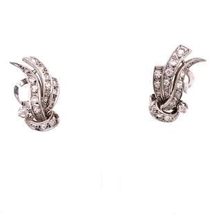 Platinum Diamond Retro Earrings