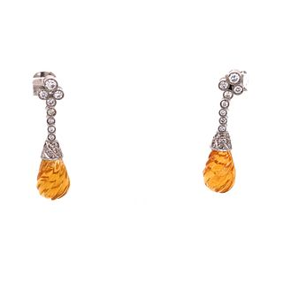 Platinum Citrine Diamond Earrings