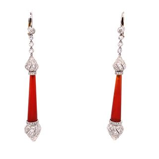 Platinum Diamond Carnelian Drop Earrings