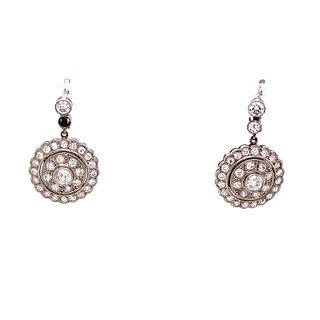 Platinum Diamond Rosette Earrings
