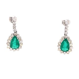 Platinum Diamond Emerald Drop Earrings