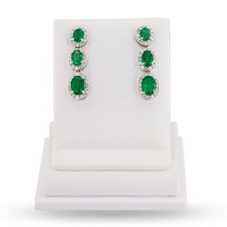 3.14ctw Emerald and 0.78ctw Diamond 18K White Gold Earrings