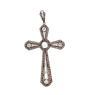 Silver & Gold Diamond Agua Cross
