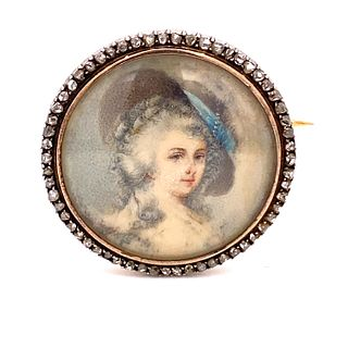 French Victorian Diamond WomenÕs Face Pin
