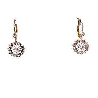 1920's Platinum Gold Diamond Earrings