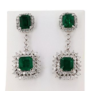 6.58ctw Emerald and 2.42ctw Diamond 18K White Gold Earrings