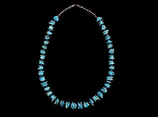 Navajo Sterling Silver Pearls & Turquoise Necklace