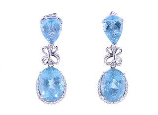 Aquamarine & Diamond 14k White Gold Earrings