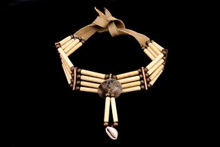 Sioux Indian Hairpipe Bone & Abalone Button Choker