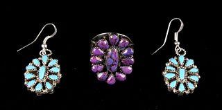 Signed Navajo Nathan Fred Jr. Earrings/Ring Set