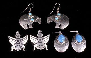 Navajo Signed Sterling Silver Earring Collection