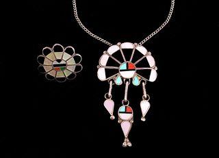 Zuni Inlaid Sunface Multi-stone Necklace & Ring