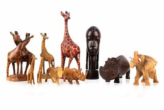 African Hand Carved Animal Collection c. 1930's