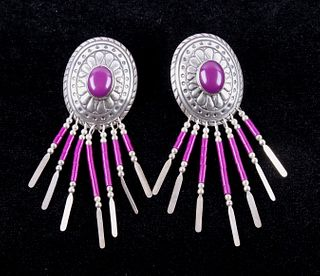 Navajo Signed Sterling Purple Spiny Earrings