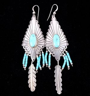 Navajo Sterling Silver Kingman Turquoise Earrings