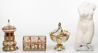 Capodimonte Reuge Music Box and Decorative Object Assortment