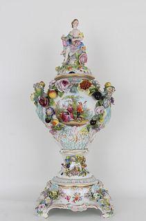 Large Antique Dresden Porcelain Floral Urn