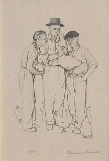 "Norman Rockwell ""Three Farmers"" A/P Lithograph"