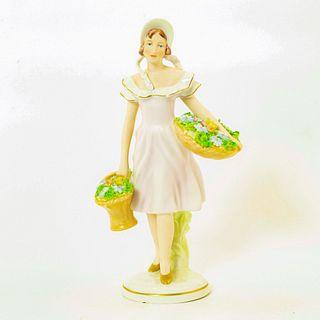 Royal Dux Bohemia Porcelain Figurine, Flower Girl