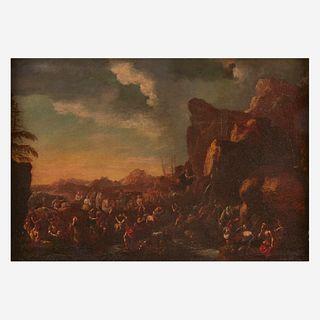 Circle of Scipione Compagno (Italian, B.C 1624–D.C 1680), , Moses Striking the Rock at Horeb (Exodus 17:16)