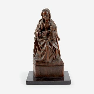 A Northern European Carved Walnut Figure of the Madonna and Child, Likely German or Flemish, 16th/17th century