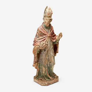 A Late Gothic Polychromed Oak or Limewood Figure of St. Urban of Langres, Flanders or Northern Germany, 16th/17th century