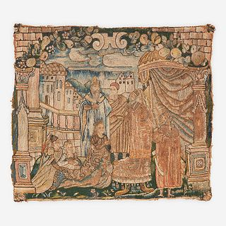 A Northern European Embroidered Wool Panel Depicting a Biblical Scene, 17th century