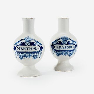 A Pair of Dutch Delft Apothecary Jars, Late 17th/early 18th century